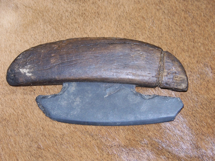 Eskimo ulu with stone point dug from ancient site