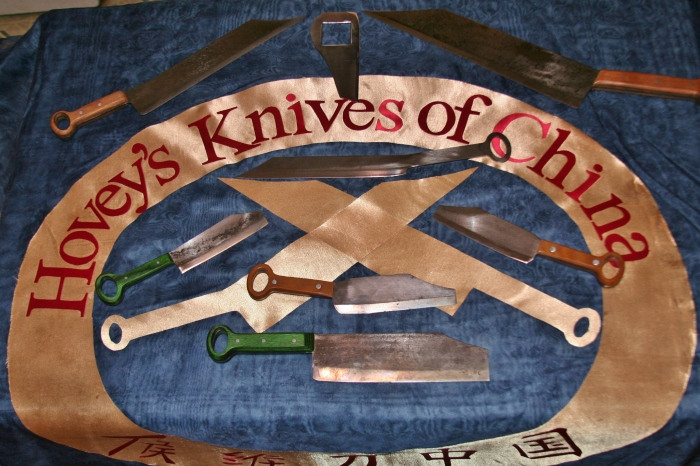 Banner on table with knives